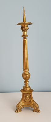 Religious brass candlestick half 20th century