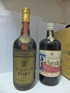 30 year old Tawny Port Fonseca - Rare and Old Bottle & NV Dry Port Souza Guedes Patriarca - an old bottle, to be discovered - 2 bottles