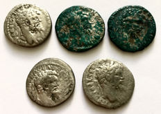 Roman Empire - lot of five denarii of Septimius Severus from Emesa mint.