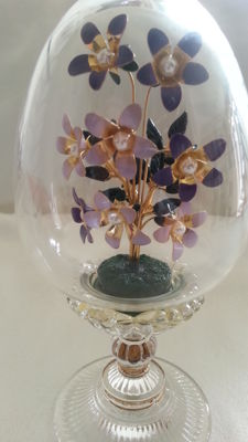 Faberge Imperial crystal egg with enamel flowers
