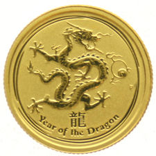 Australia - 5 Dollars - 1/20 oz 2012 'Lunar Year of the Dragon' in capsule - Gold