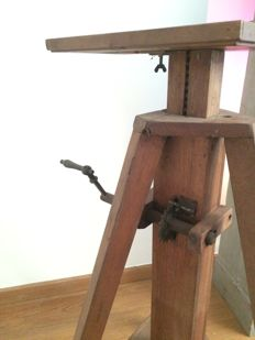 Very nice old wooden tripod on wheels and chain/sprocket transmission