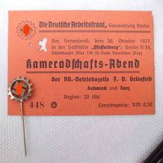 3rd Reich Badge German Labour Front, ID card