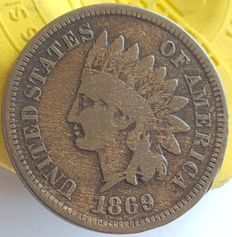 United States - 1 Cent 1869 'Indian Head' - Bronze
