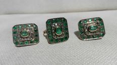 Set of earrings and ring in 18 kt gold and 925 silver with emeralds and diamonds, size 21
