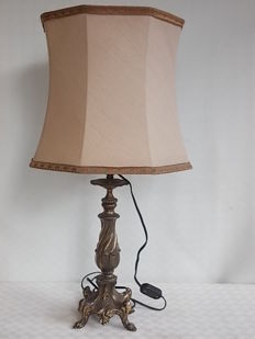 Ancient bronze lamp, very heavy with vintage fabric shade