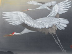 Signed scroll painting of two red-headed cranes - Japan - late 20th century