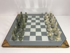 Antique jade chess set