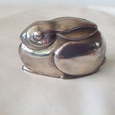 Art Deco silver piggy bank in the shape of a rabbit