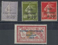 France 1923/1931 – Redemption Fund and Bordeaux exhibition – Yvert 182 and 275/277