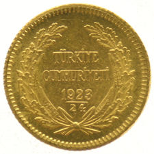 Turkey - 25 Kurush 1923/1924 - Gold