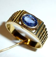 18 kt/750 gold ring with natural sapphire, eye-clear 1.3 ct, RS 63/20 mm