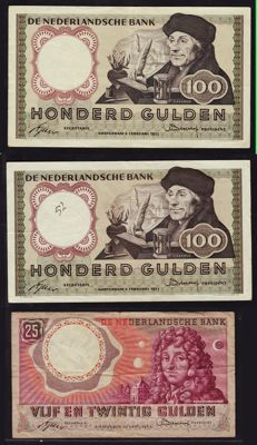 Netherlands - 2 x 100 guilders 1953 and 1 x 25 guilders 1955