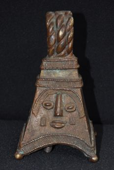 Tribal ceremonial bronze bell - IBO - Nigeria