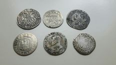 Provincial -  Lot of various coins,  17th and 18th century (6 pieces) - silver.