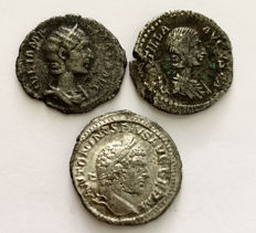 Roman Empire - lot of three Denarii of Caracalla, his wife Plautilla and Julia Mamaea.