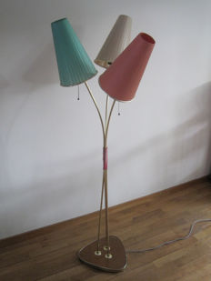 Unknown designer - Standing shaded lamp from the 1950s/1960s with three lamp shades, in original condition