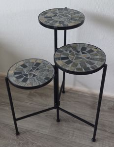 Metal plant table with 3 plateaus inlaid with stone.  Top quality piece.