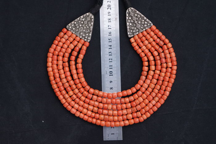 Coral & Silver 6 String Necklace - Yemen - ca. 1900