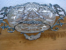 Plant stand, table centrepiece, Lisbon, Portugal - embossed glass, about 1920