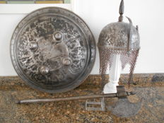 Indo Persia khulakhud helmet, shield and axe