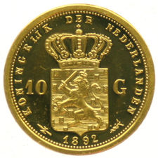 "The Netherlands - Medal ""Restrike of the 10 Guilder 1892"" - Gold"