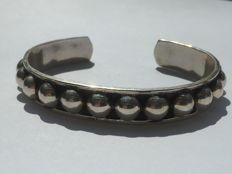 Antique Mexican bangle TL-93, genuine 925 silver, solid, around 1940-1950