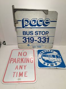 3 original street signs from the USA - Bus Stop - Trolley Stop - No Parking