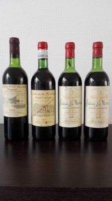 1976 Chateau Petit Village, Pommerol, 1 bottle / 1973 Domaine Prats Chateau de Marbuzet, Saint-Estephe, 1 bottle /1973 Chateau La Mission, Lalande-de-Pomerol, 2 bottles / Mixed lot of 4x 0,75L Bottle