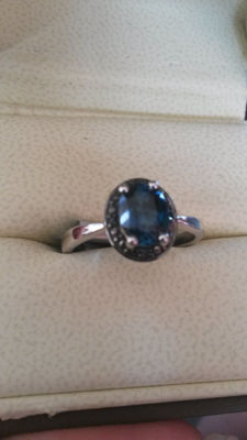 Rare Brazillian Marambaia London Blue Topaz & Blue diamonds. Antique style. No Reserve Genuine