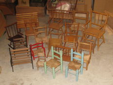 Collection of wooden dolls chairs - Benches and an antique stroller