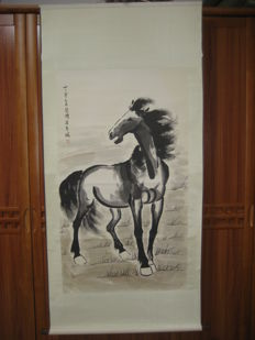 A scroll painting, made after Xu Beihong - China - late 20th century