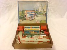 Höfler, Western Germany - M. 52 x 27 cm - Tin Wind-up Shell Station Track Toy, early 50s