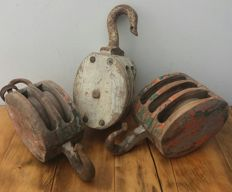 3 antique wooden ship pulleys