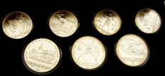 Russia - 5 (4 different), 10 (3 different) roubles 1980 coin set XXII.  Olympic Games 1980 in Moscow - silver