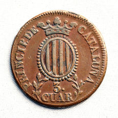 Spain - Queen Isabel II - 3 quarters copper coin- Year 1837 - Catalonia.