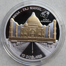 Cook Islands – 10 Dollars 2007 'Taj Mahal' sculpture coins partly 24 k gold-plated – 1 oz Silver