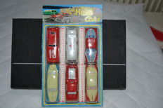 Marchesini, Italy - L. 10 cm - Collection of 6 tin cars, 1960s.