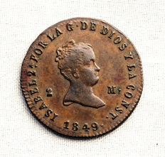 Spain – Queen Isabel II –  2 copper maravedis coins – Coins minted at the Jubia  Mint, in Galicia (Spain) – Year 1849.