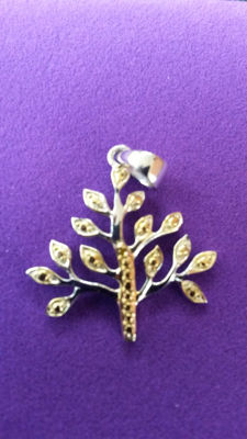 'Golden Tree' Yellow Diamonds from Africa Pendant. Manhattan design. No Reserve