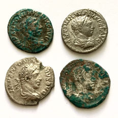 Roman Empire - lot of four Denarii of Elagabal with a different reverse