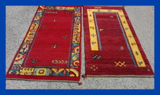 Original Set of Two Hand Knotted India Gabbeh