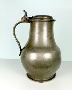 "Bulging pewter jug from Aachen by pewterer ""GL"". Nicely marked-Perhaps late 18th or early 19th century"