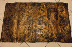 Two embossed and parcel gilt leather wall panels - probably Netherlands - early 18th century
