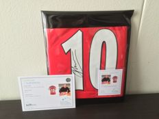 Hand Signed Arsenal FC shirt from Arsenal Legend Dennis Bergkamp in cover + COA inc Photoproof!