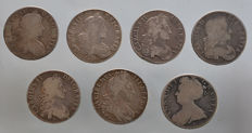 United Kingdom - Crown 1664/1707 Charles II, William III and Queen Anne (7 pieces) - silver