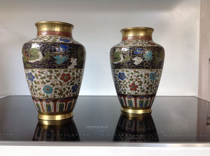 China – Two enamel cloisonné vases – China – mid 20th century