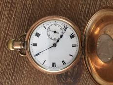 Dennison watch Co. Half Hunter pocket watch 1850, gold-plated