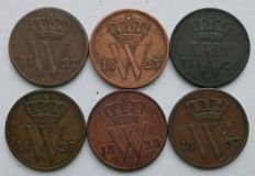 The Netherlands, 1 cent, 1822/1837, Willem I (6different coins)