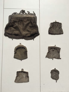 """Collection of 6 silver purses """"chain mail"""", first half 20th century"""